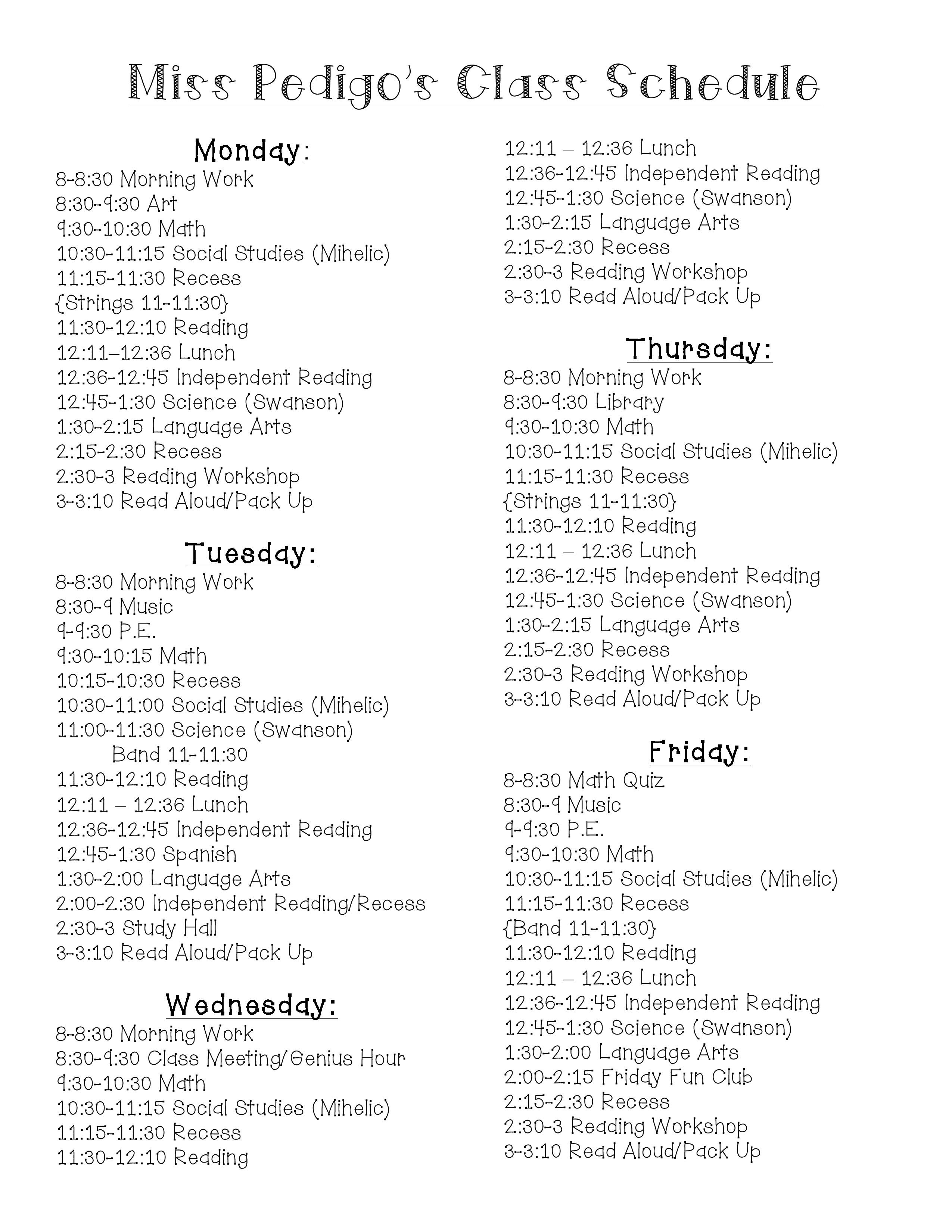 Daily Schedule - Mrs. Kinney\'s 6th Grade Class