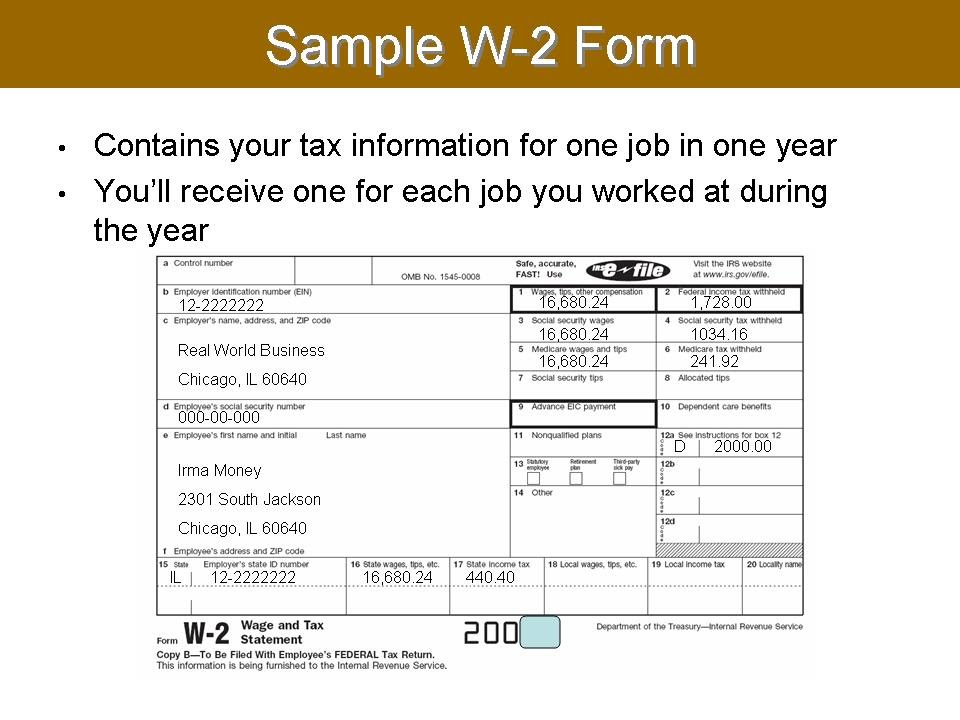 w 2 form example. on their own Tax with W-2