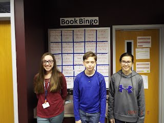 Winners of the 2016-2017 school year book bingo.  They were they only students to black-out the entire board.