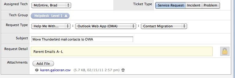 Import Thunderbird contacts - Outlook Web Access (OWA) Email