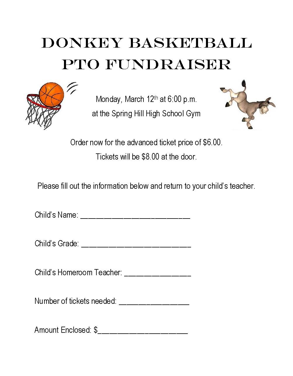 PTO Donkey Basketball, March 12th, 6:00 pm Ticket Form
