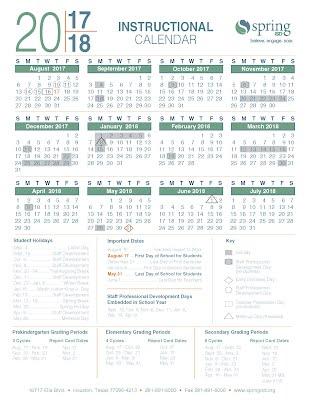 Spring ISD 2017   2018 calendar   sporea