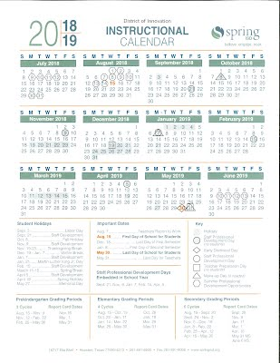 Spring Isd Calendar 2019 Spring ISD 2018   2019 calendar   sporea