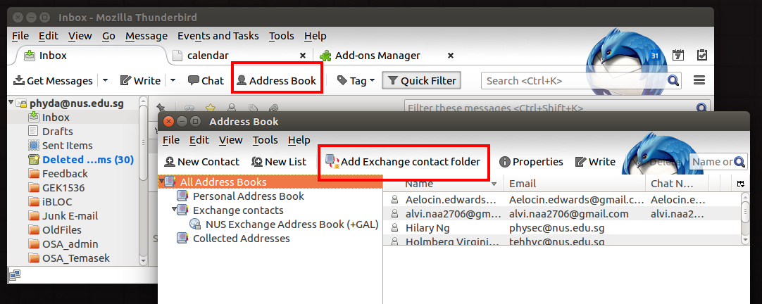 Integrating NUS Exchange Address Book to Thunderbird Mail