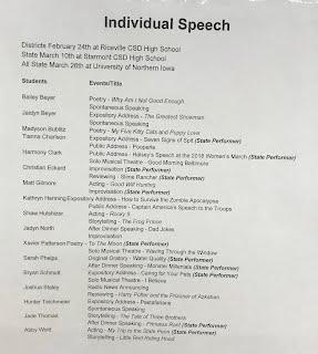 STA speech team 2018 individual