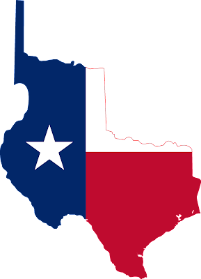 State map over the original state of Texas