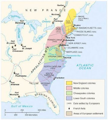 Unit Colonial Era US History McKamy - Colonial us map