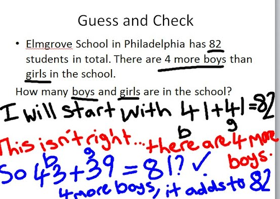 Guess and check problem solving: teach, together, try youtube.