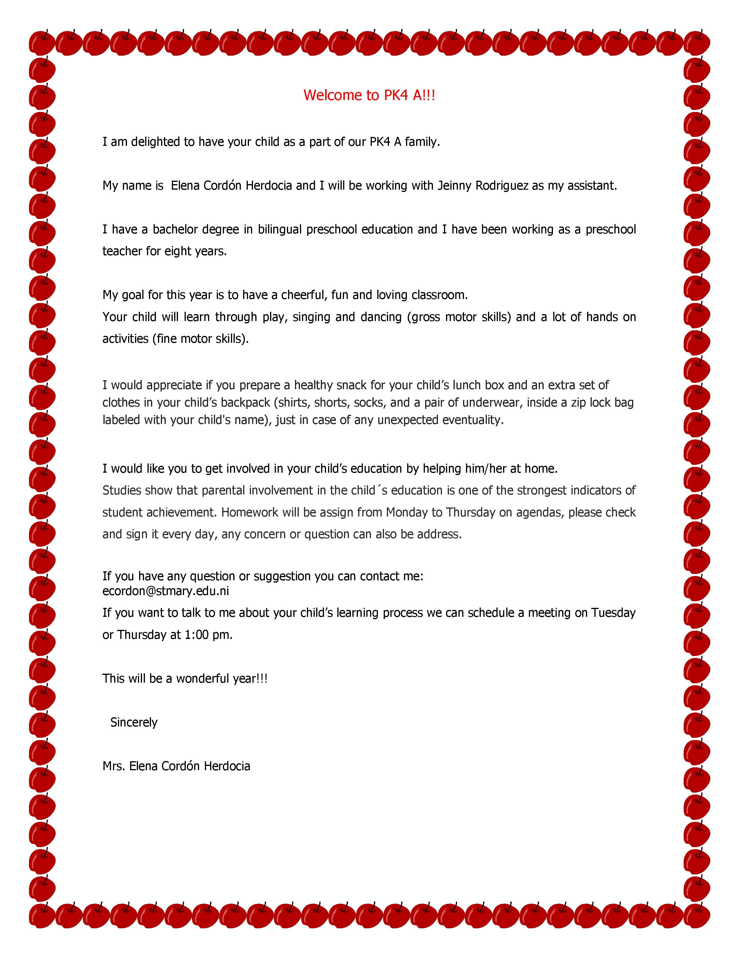 Welcome Letter   Pre Kinder 4 A, 2016