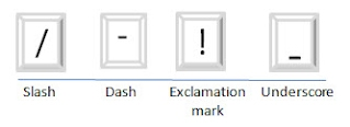 the slash, dash, underscore, and exclamation mark special characters (/-_!)