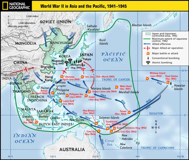 A Map Of All Of The Major Battles That Took Place In The Pacific Theater Of World  War II.