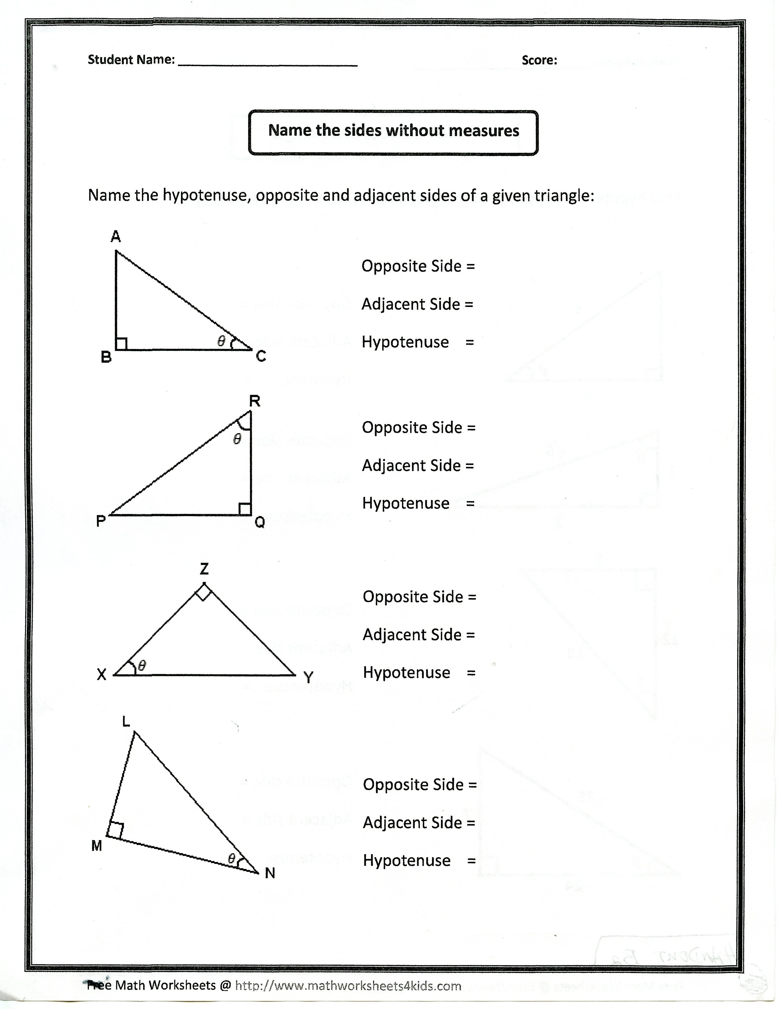 trigonometry how to find opposite adjacent hypotenuse