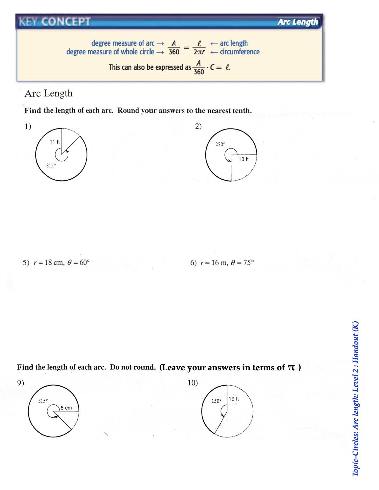 worksheet Arc Length And Sector Area Worksheet Answers worksheet arc length and sector area thedanks handout k rsu 2 math 10 geometry