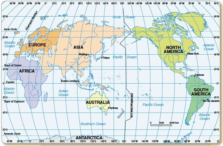 World Map Lat Long Continents Oceansjpg - World map with latitudes