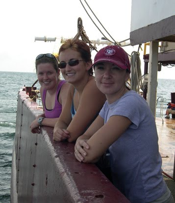 Students aboard the R/V Gyre