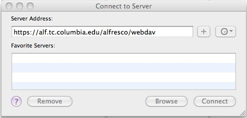 Connect to Server Dialogue Box