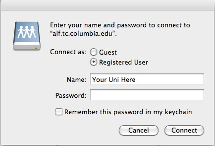 Authentication dialogue box