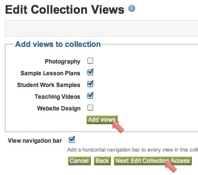 Check boxes for choosing views, Add views button, and Next button