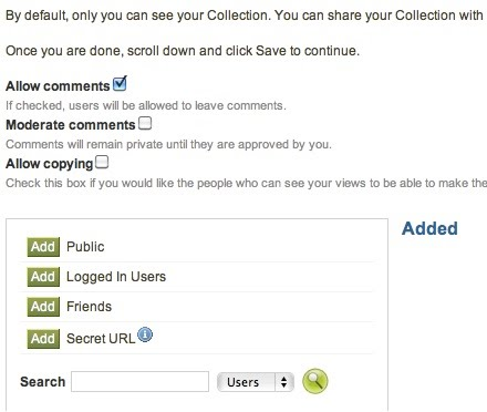 Screen shot of editing collection access page