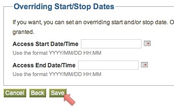 Screen shot showing how to override dates and save button