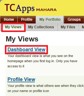Click on Dashboard View