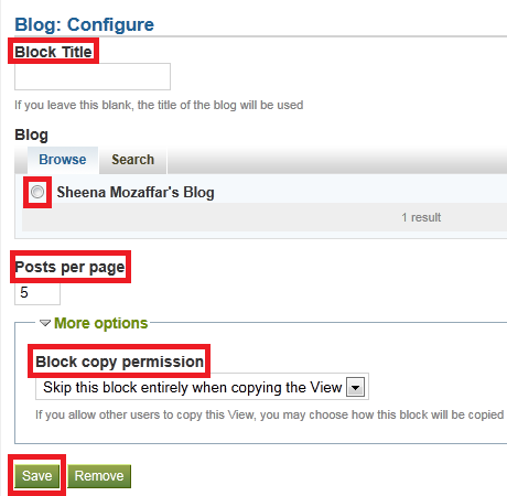 For Blog Widget, enter block title, select blog, posts per page, permissions and click Save in pop up.