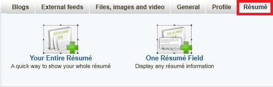 Resume menu