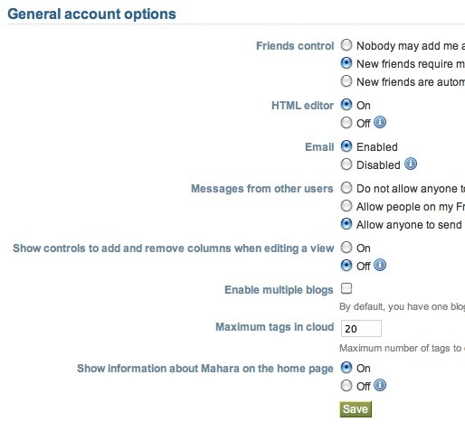 screen shot of general settings in Mahara