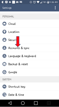 Accounts and sync Android settings menu