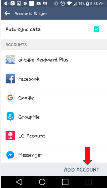 Add account menu button