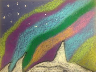 The Students Then Were Able To Use Oil Pastels Create These Beautiful Winter Landscapes Showing Aurora Borealis In Night Sky