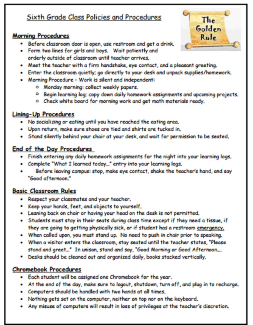 Elementary Classroom Procedures : Classroom procedures ms sanders sixth grade
