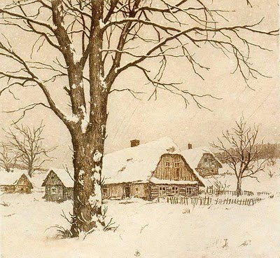 Rural cottage in winter with bare trees and snow covered ground.