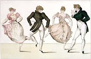 Antique print showing Regency Era dancers
