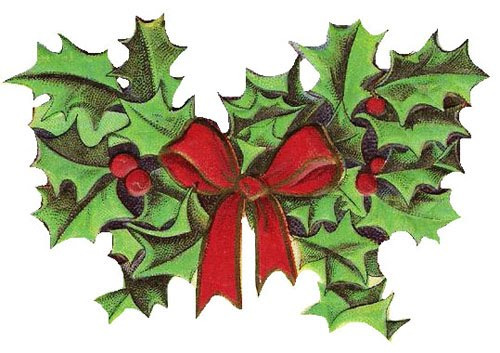 Holly spray with red ribbon.