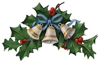 Decorative spray of holly with bells.
