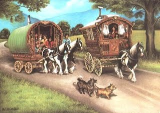 Old print depicting an Irish Travelers' caravan.