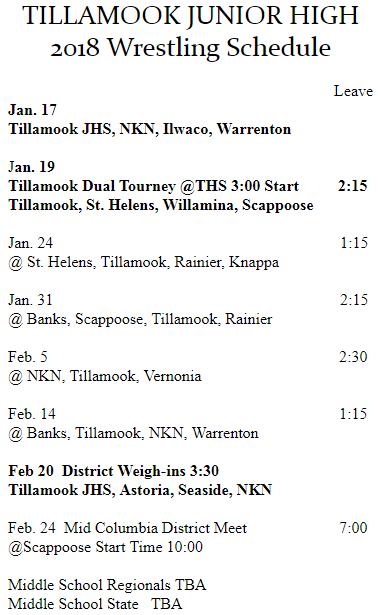 2017-18 Wrestling Schedule