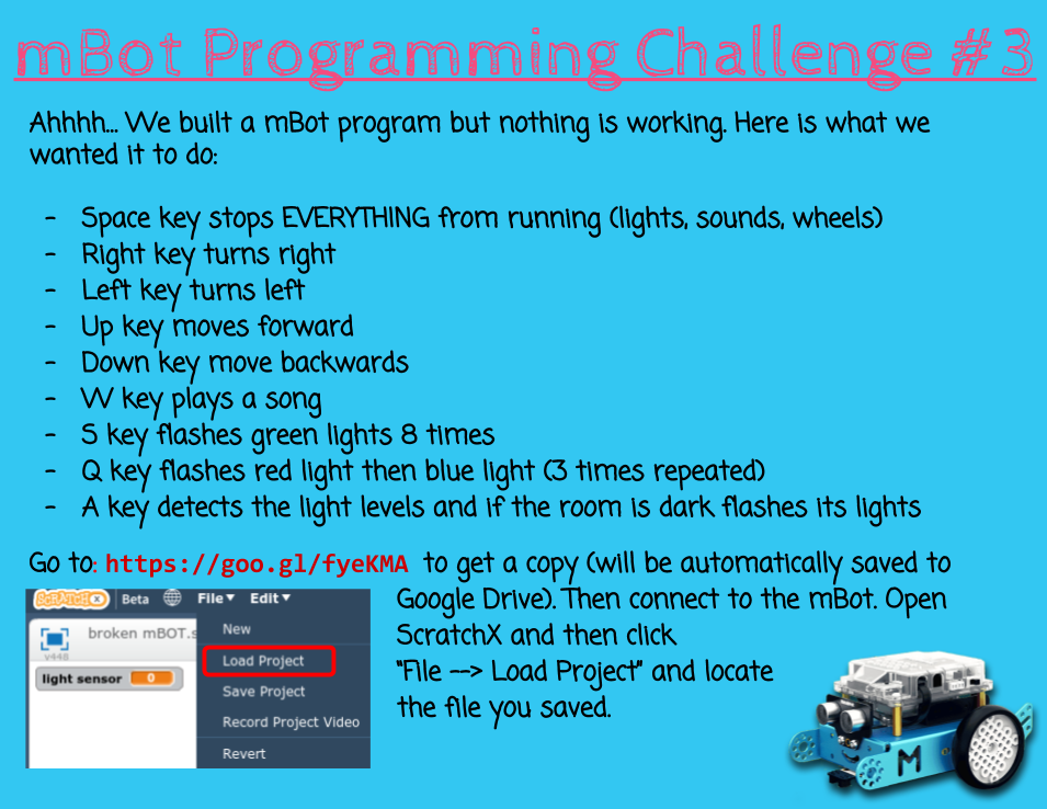 mBot Programming Challenges - TLDSB Coding