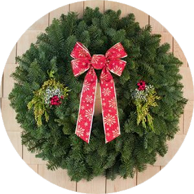 28 Inch Mixed Evergreen Gift Wreath