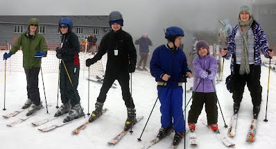 Brian, Caleb, Byron, Levi, Jessica & Ms. Cathy on the slopes!