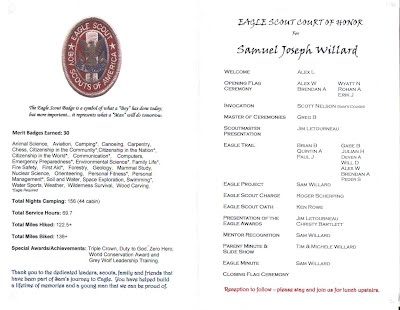 Sam willard eagle scout court of honor program troop 494 for Eagle scout court of honor program template