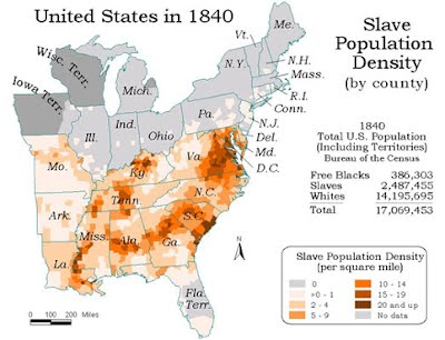 African Slaves Contribution In Building America - Map of the us 1840