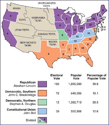 Secession S Prelude To The Civil War - 1860 us map