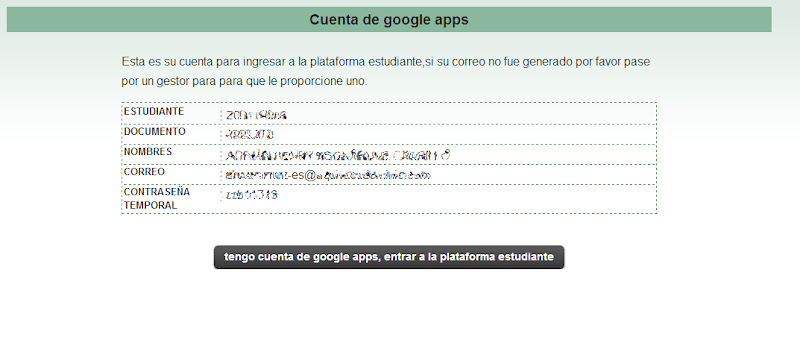 cuenta creada de google apps