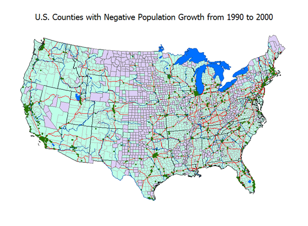 Anegpoppng - Map of us population change 2000