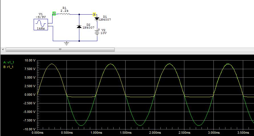 Circuito Recortador : Aplicaciones del diodo analógica