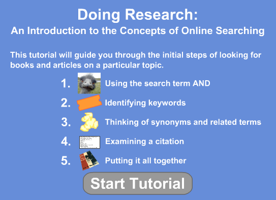 Doing Research: An Introduction to the Concepts of Online Searching