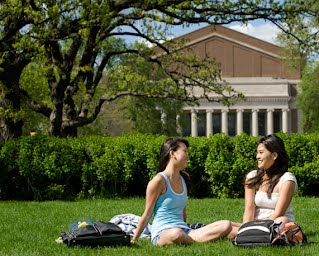 Students studying on the Mall.