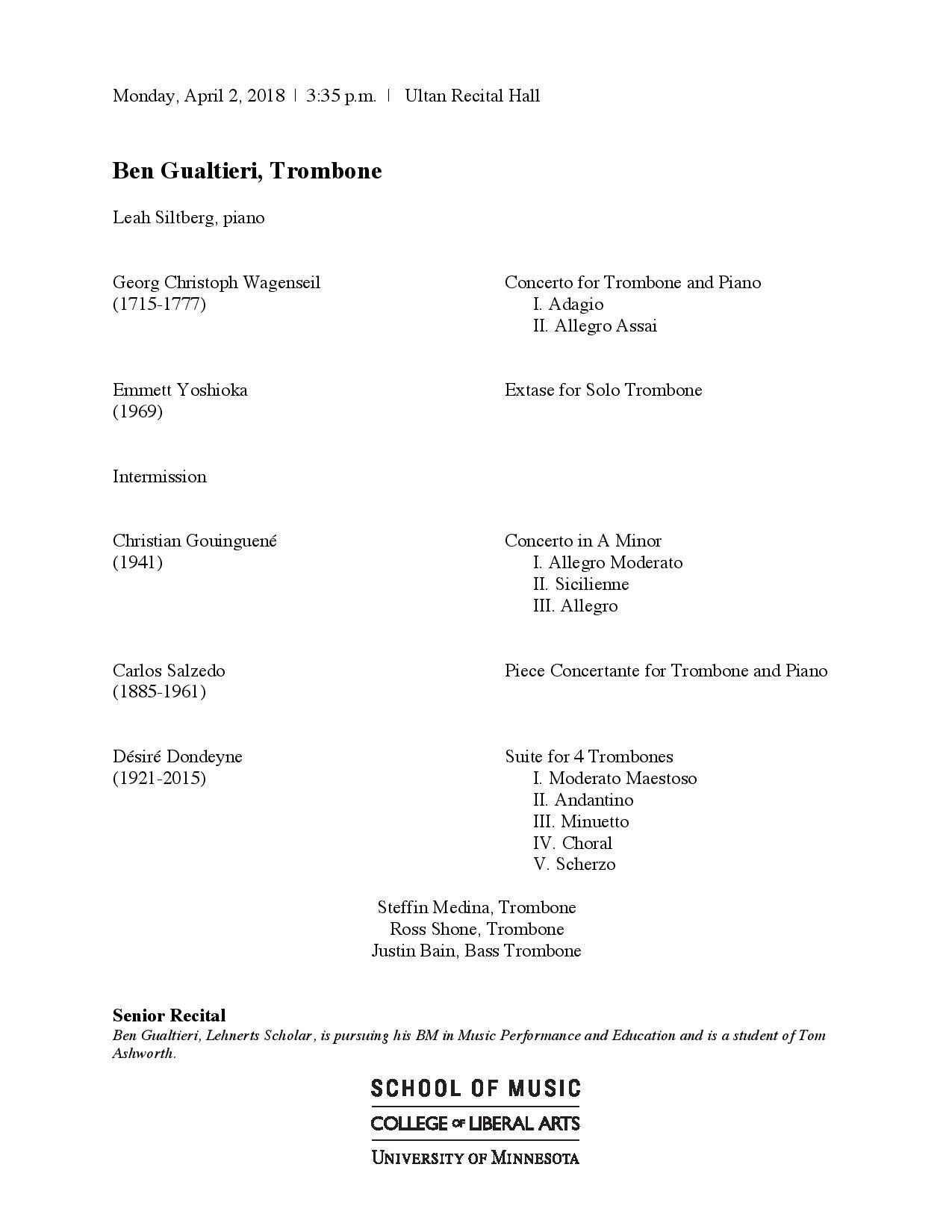Umn Academic Calendar.U Of M Trombone Studio